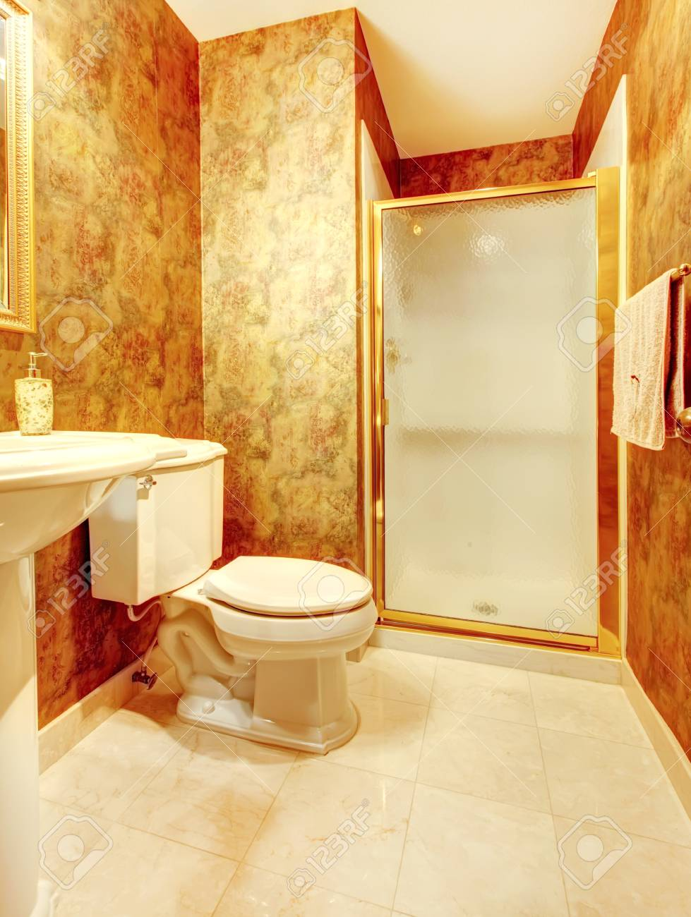 Golden Antique Bathroom With Shower And Marble Tiles Stock Photo Picture And Royalty Free Image Image 16306547