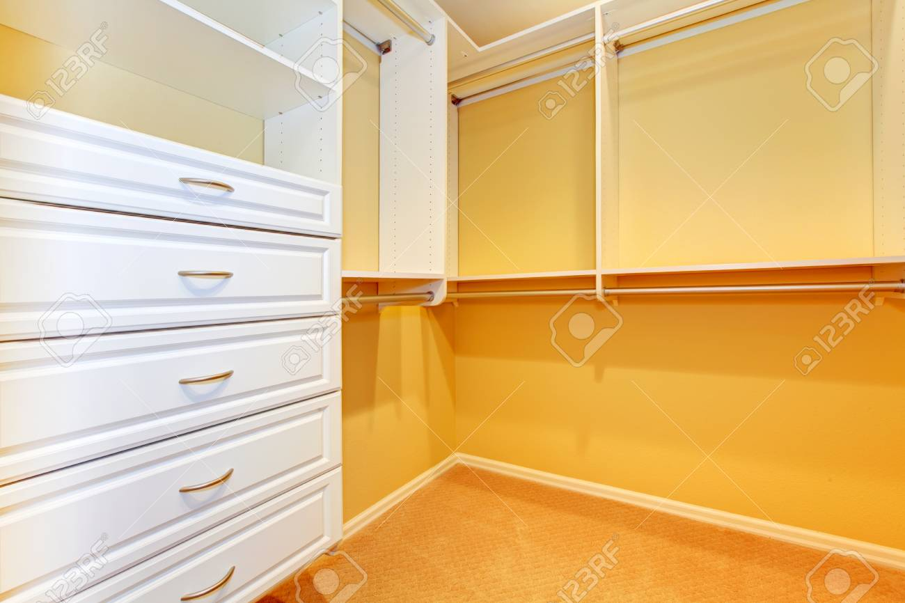 White shelves in lareg walk in closet Stock Photo - 16306545