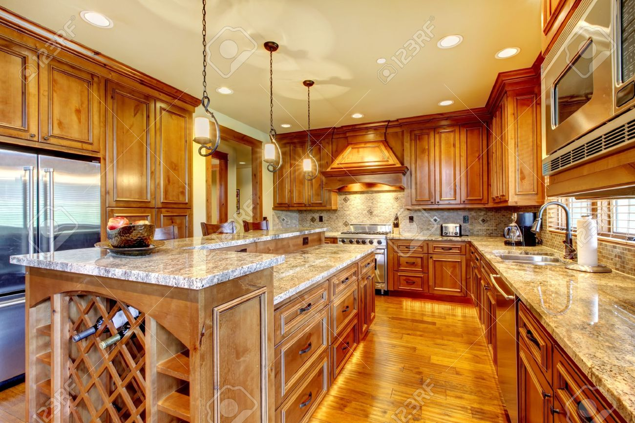Kitchen And Granite Mountain Luxury Home With Wood Kitchen And Granite Countertop