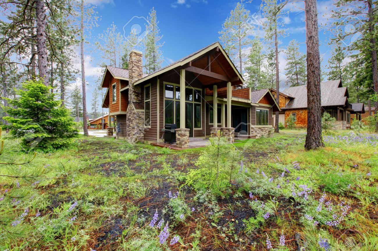 Cabana De Montana Casa De Madera Exterior Con El Bosque Y Las Flores