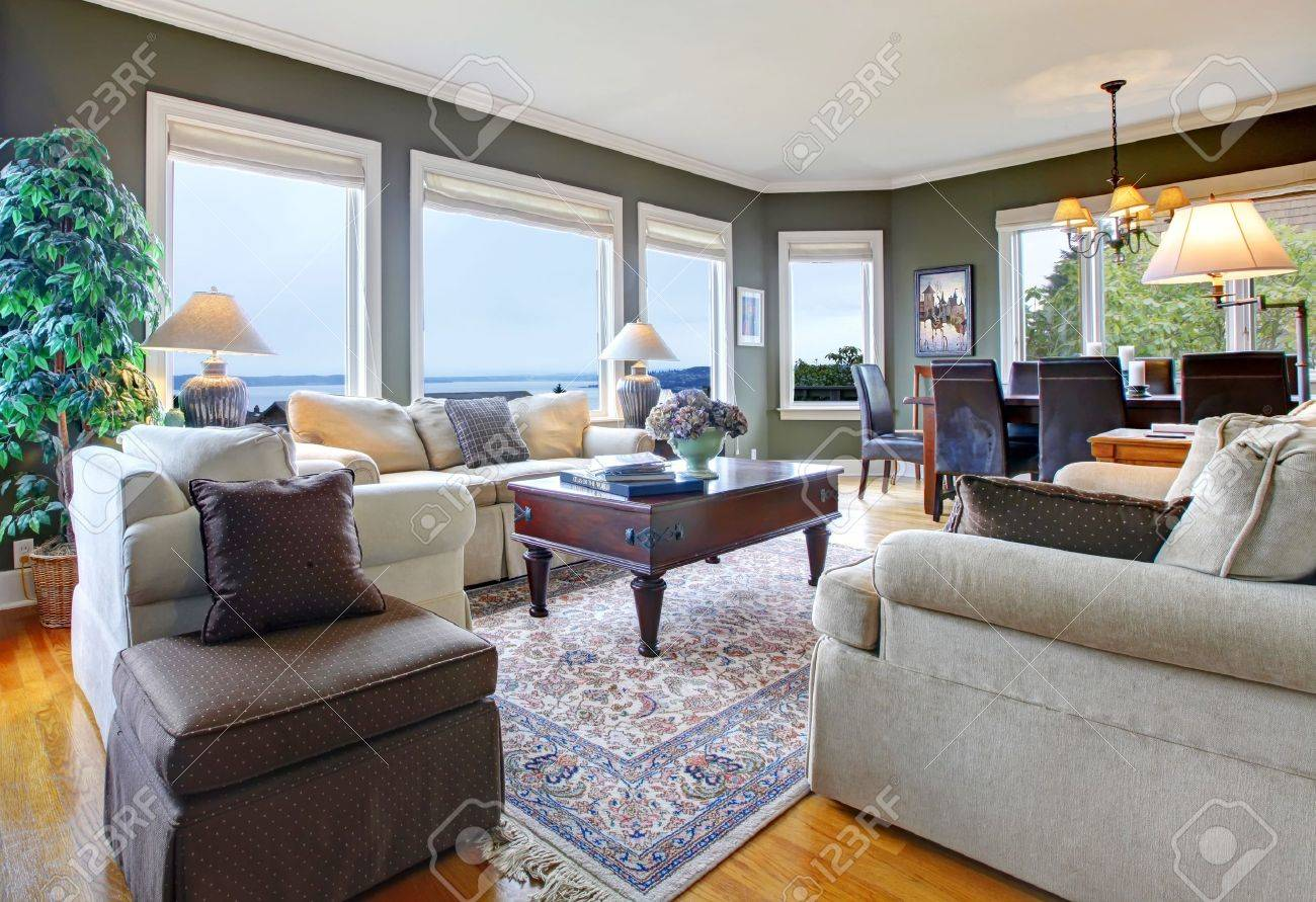 Classic Green Living Room With Nice Furniture, Fireplace And Many Windows  Stock Photo   16752250 Part 69
