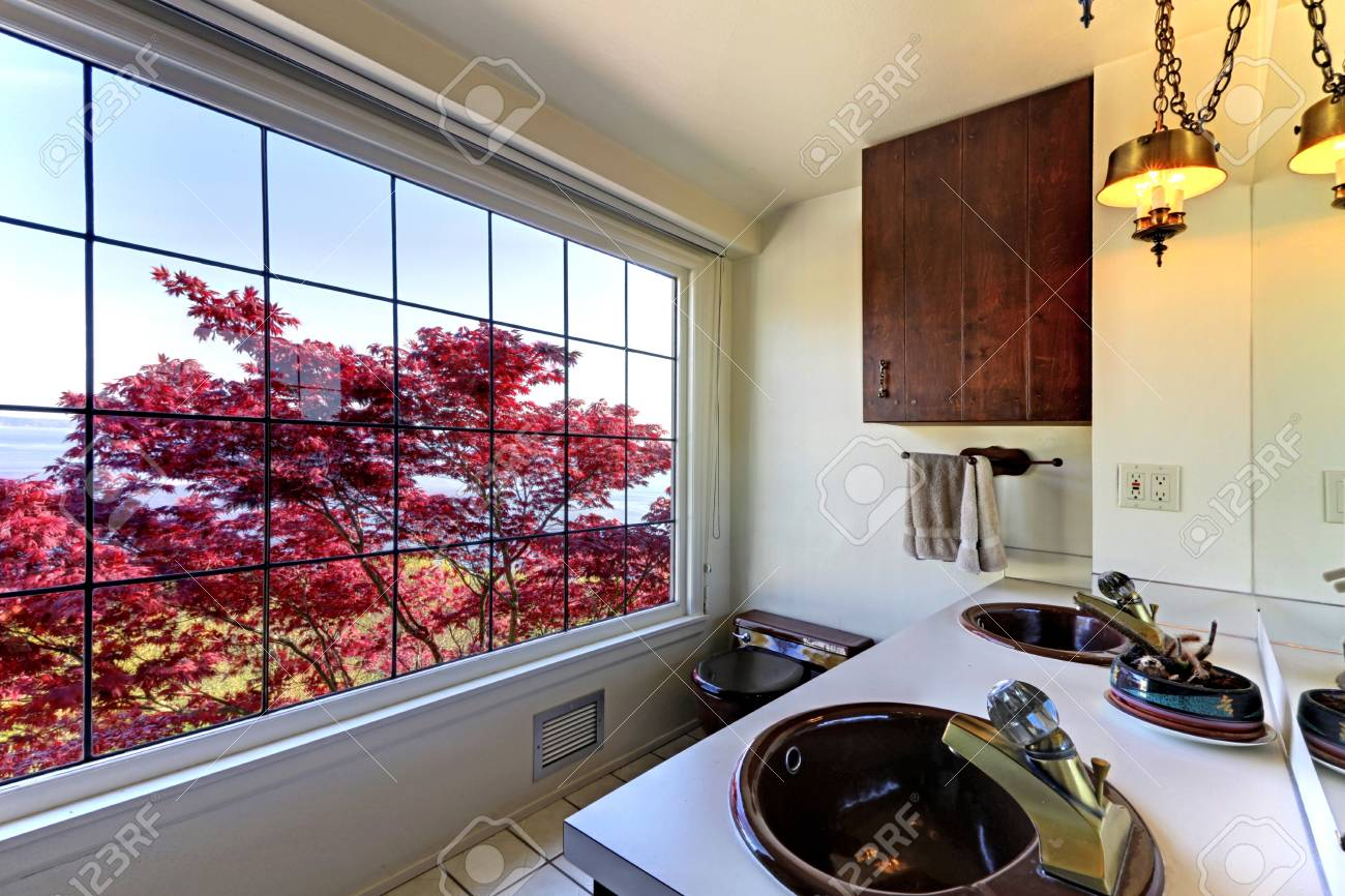 Old antique bathroom with red maple and double sinks. Stock Photo - 17100551