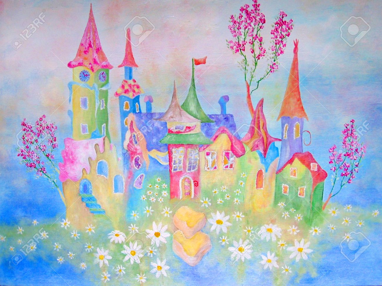 Nice Painting For Kids Room   Original Oil On Canvas Of Childhood Stock Photo    17647133