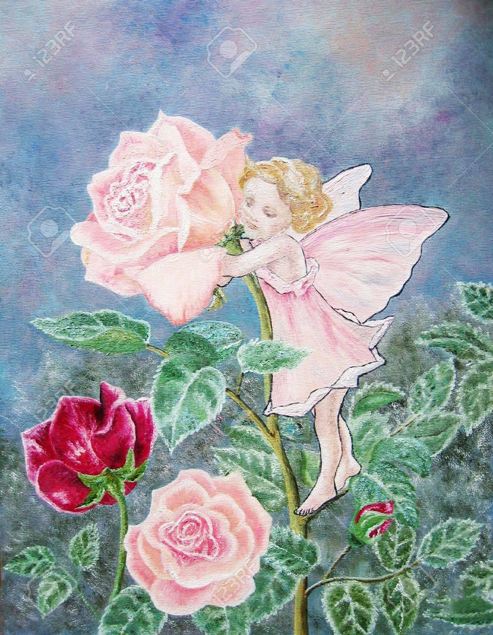 Oil painting of the flower fairy rose fairy with pink rose in oil painting of the flower fairy rose fairy with pink rose in the pink dress baby mightylinksfo