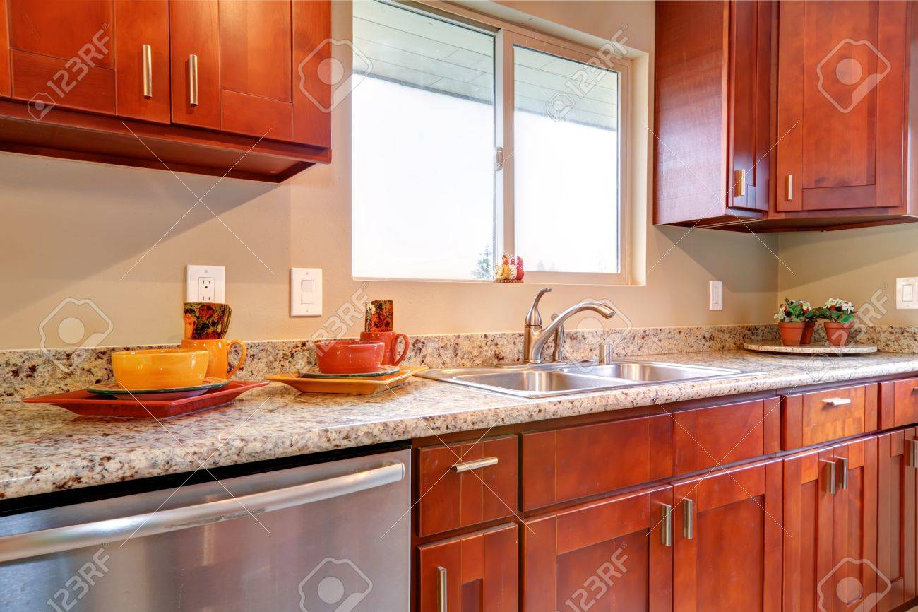 American Kitchen New Cherry Wood American Kitchen Interior Stock Photo Picture And