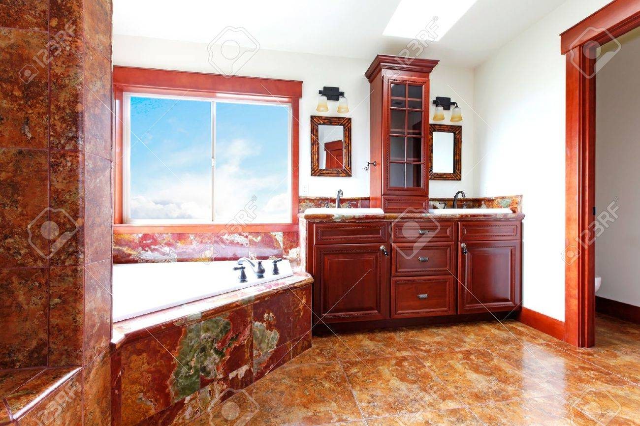 Luxury New Home Bathroom With Red Marble And Mahogany Wood Stock Photo Picture And Royalty Free Image Image 18283879