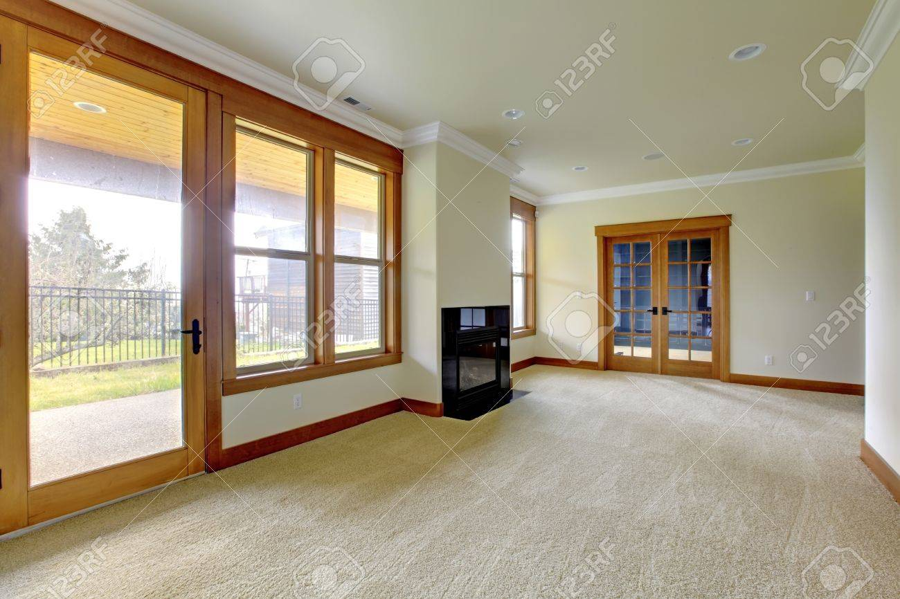 empty large room with fireplace new luxury home interior stock