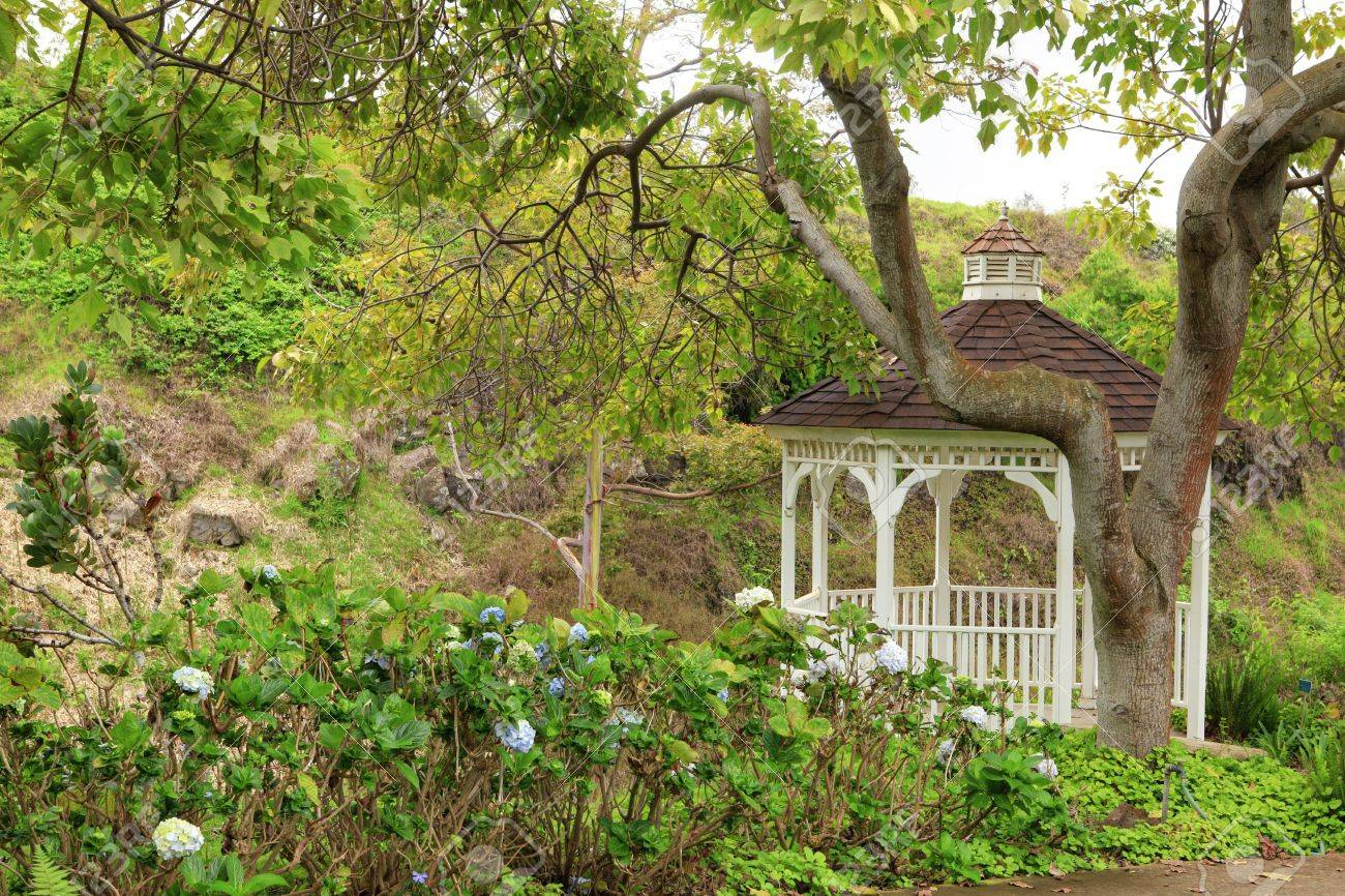 Kula Botanical Garden. Maui. Hawaii. White Gazebo. Tropical Landscape.  Stock Photo