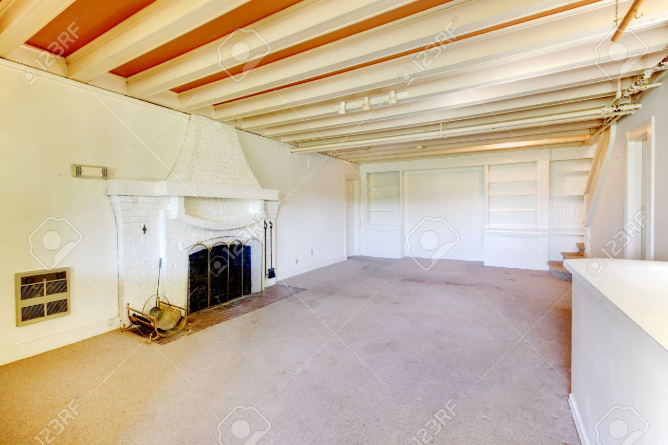 Cool Old American House Living Room In The Basement With Fireplace With  Basement Living Room.