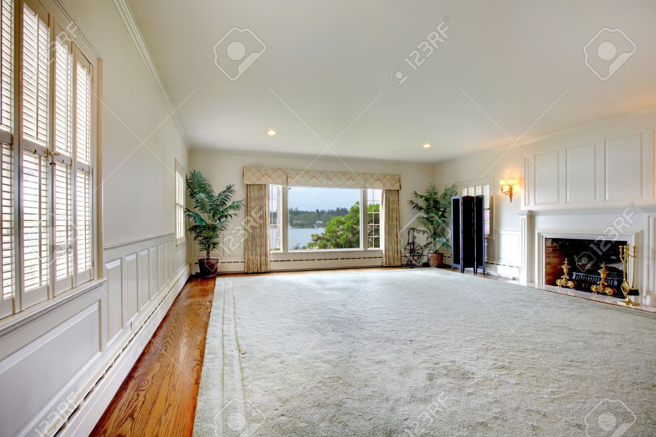 Large Empty Living Room With Huge Rug Fireplace And Lake View - Large living room rugs