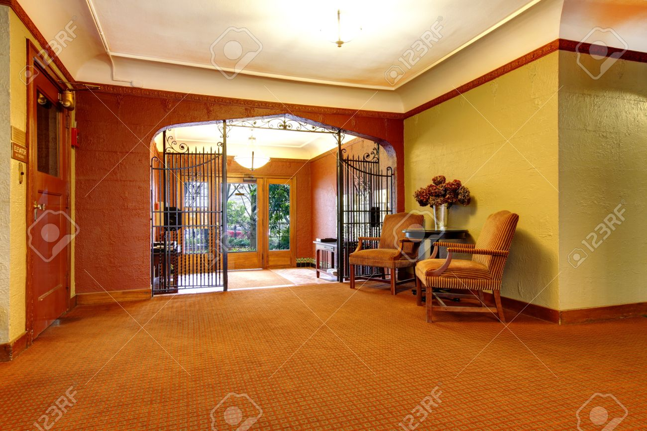 Old Apartment Building Main Foyer Front Door Entrance Stock Photo
