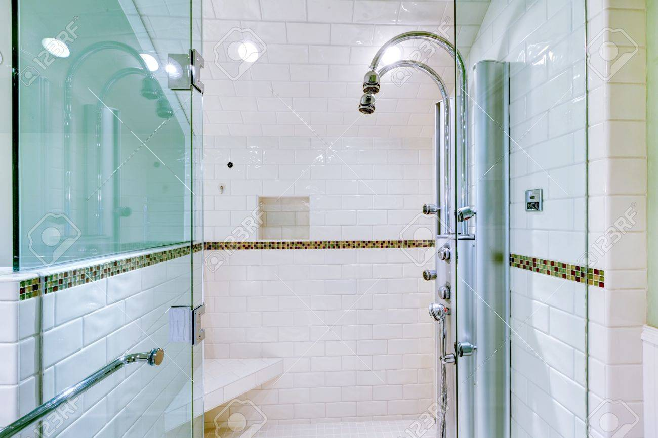 White Large Luxury Bathroom Walk-in Shower With Steam Modern.. Stock ...