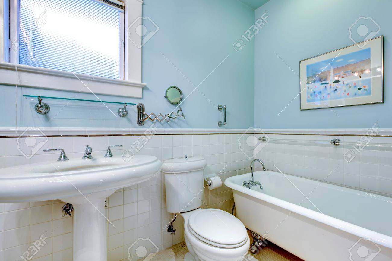 Blue Antique Elegant Bathroom With White Tub And Tile. Stock Photo ...