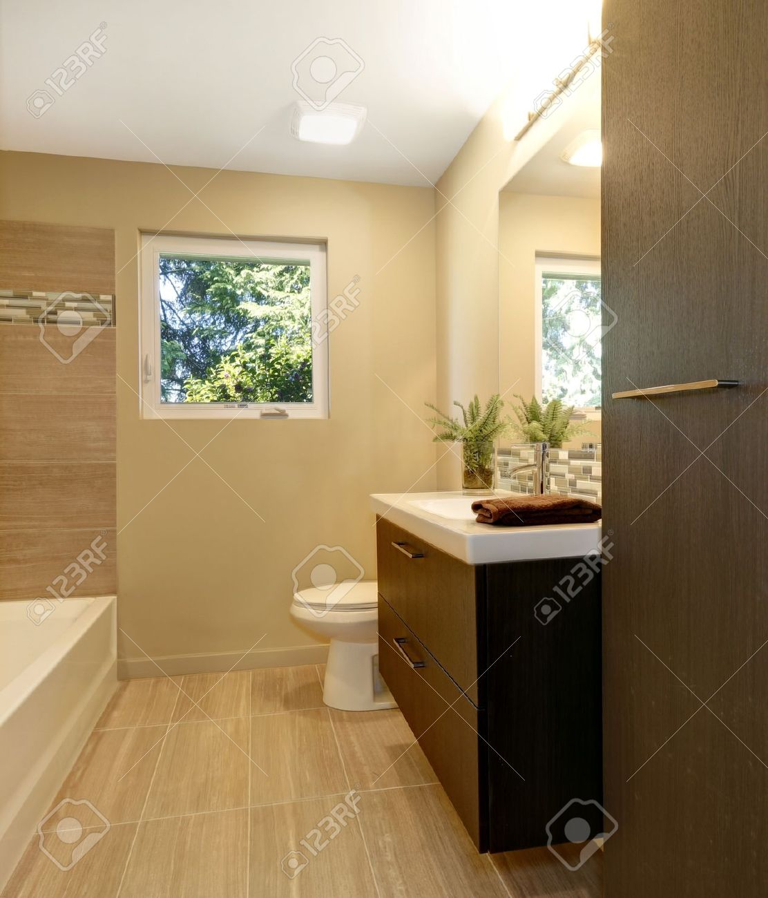 Beige modern new bathroom with brown wood cabinets and tub. Stock Photo - 20993039