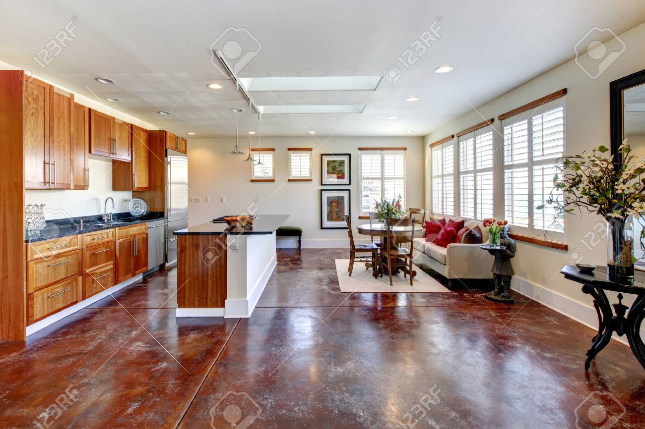 Large Whiskey Wooden Kitchen With A Soft Colors Dining Area And ...