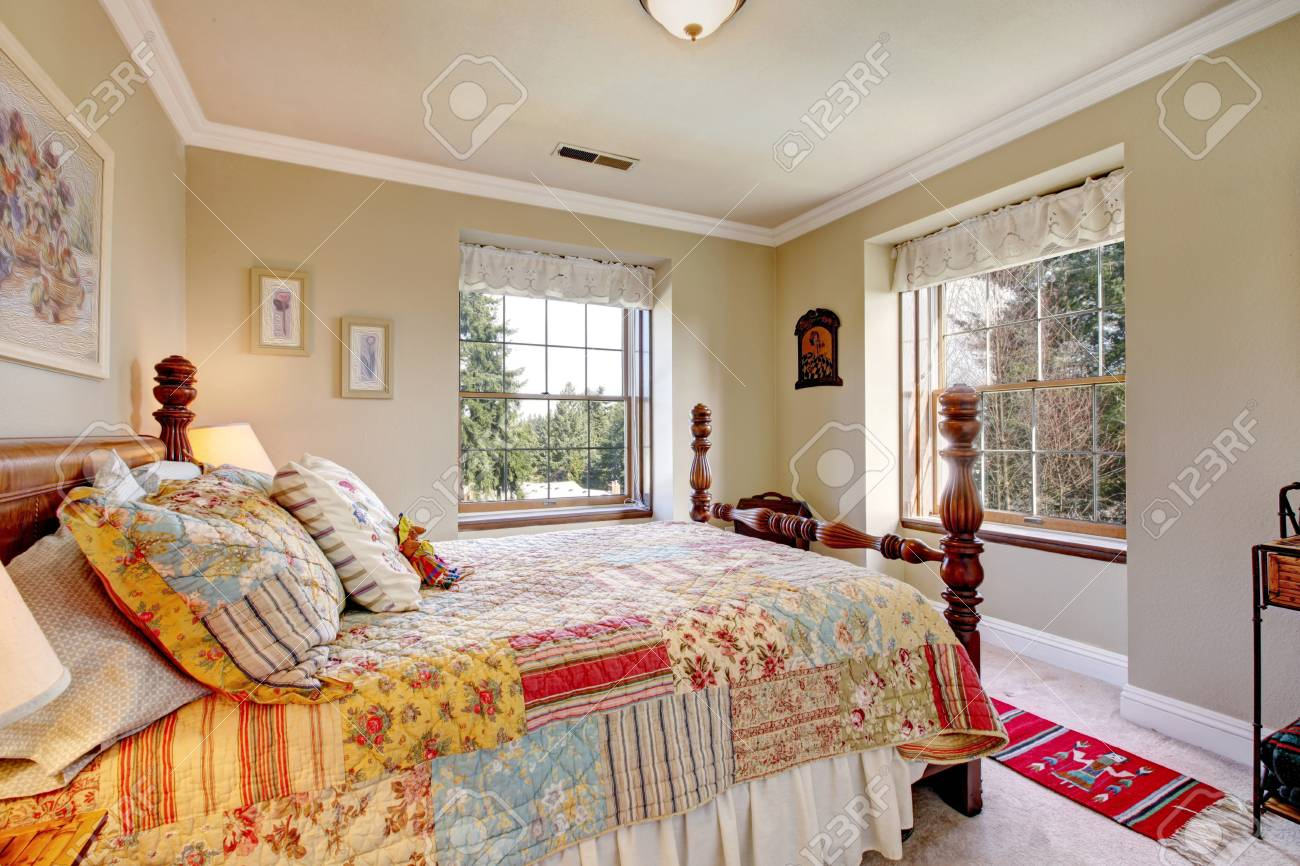 Bright Beige Bedroom With Rustic Furniture Rustic Wooden Bed Stock Photo Picture And Royalty Free Image Image 25430446