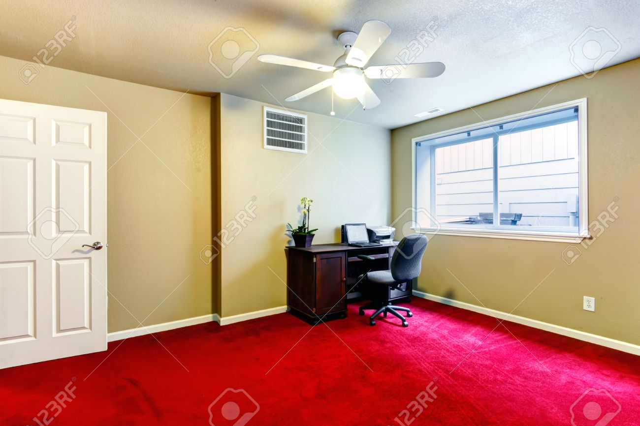 Big Office Room With Red Carpet Floor, Olive Walls And Dark Brown ...
