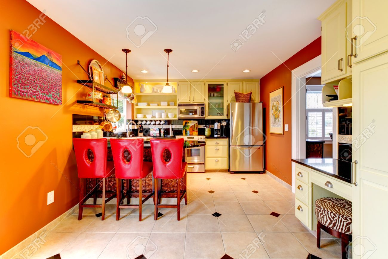 Brilliant Small Kitchen Room With Yellow Wooden Cabinets And Red Bar Stools Evergreenethics Interior Chair Design Evergreenethicsorg
