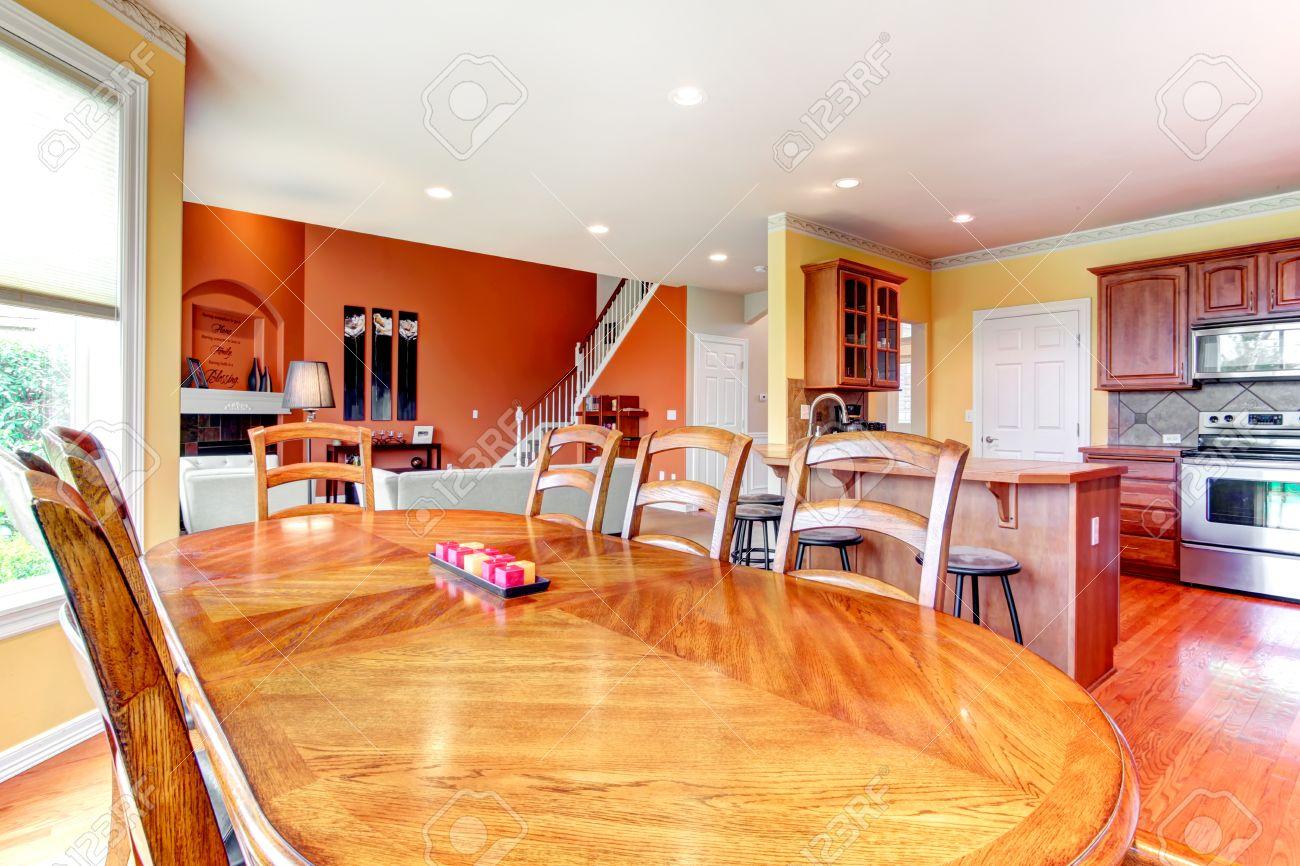 Interieur ontwerp voor de keuken, eetkamer en livign kamer ...