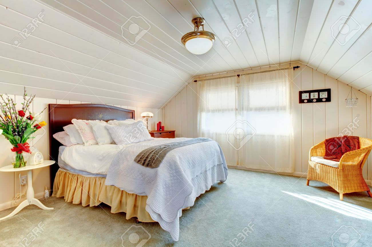 Peachy Cozy Bright Bedroom With Vaulted Ceiling And Light Blue Carpet Home Interior And Landscaping Ologienasavecom