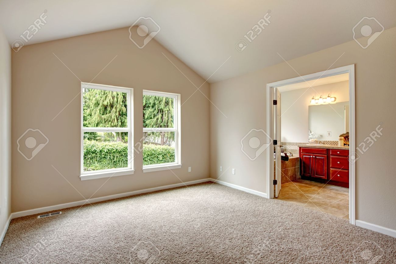 Soft Colors Empty Room With Valted Ceiling Big Window Carpet