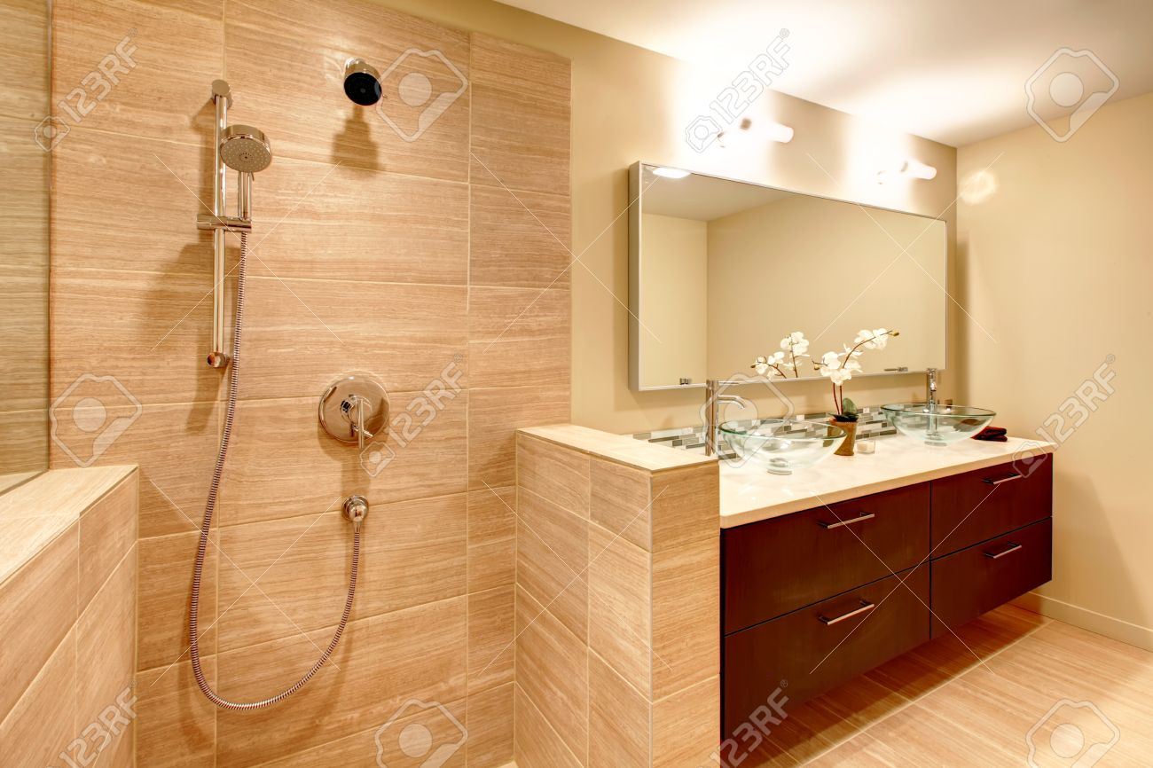 Elegant Beige Bathroom With Shower Stock Photo, Picture And Royalty ...