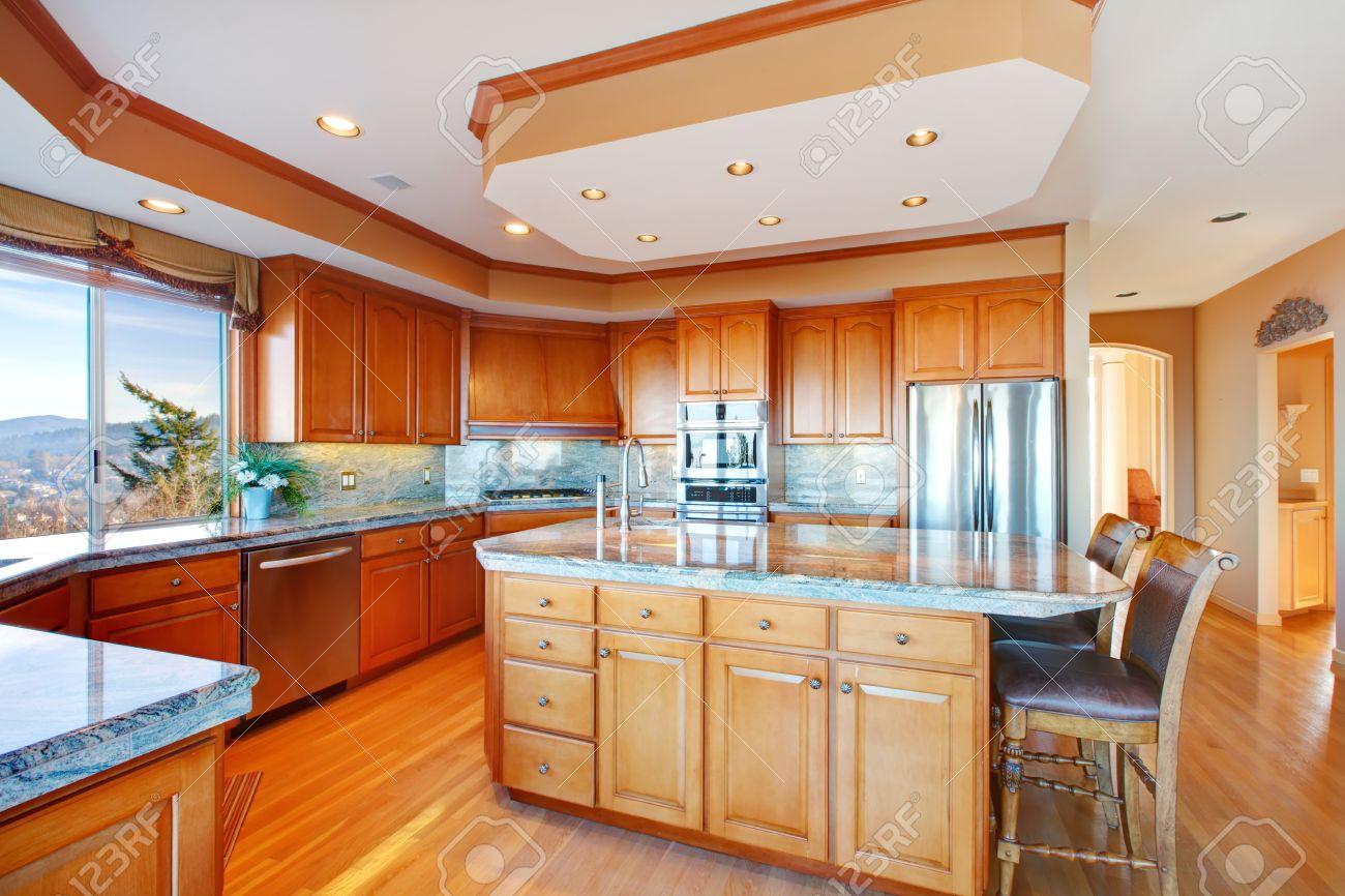 Stock Photo Wood rich kitchen room