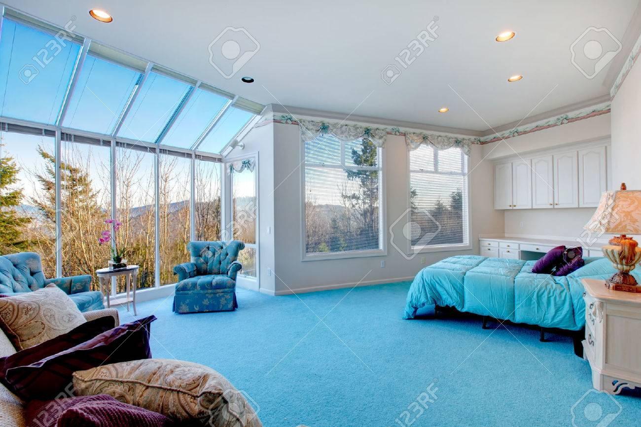 Great Design For Bedroom With Glass Wall Blue Carpet Floor Well Stock Photo Picture And Royalty Free Image Image 25651413