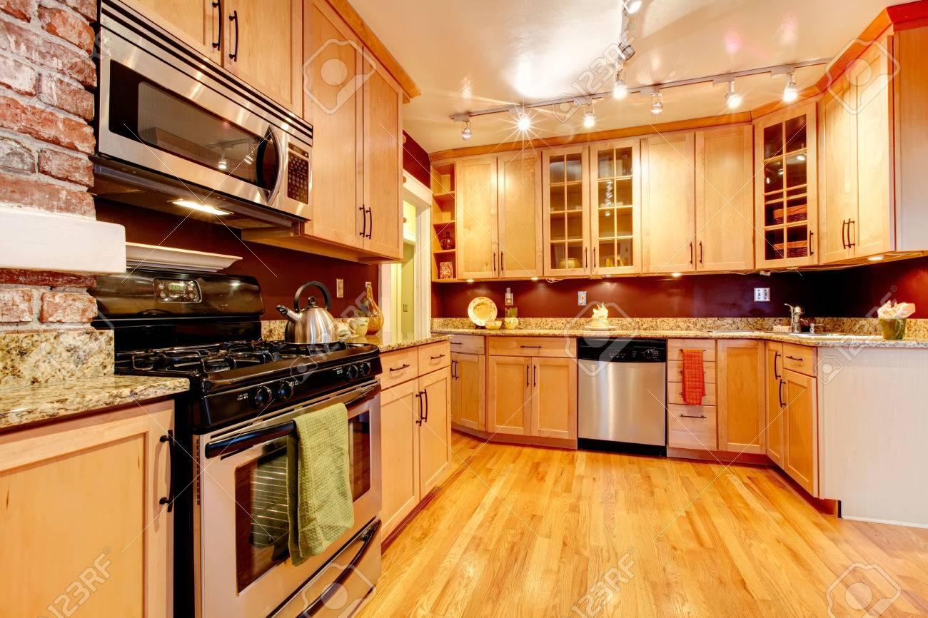 Brick Floor In Kitchen Impressive Kitchen With Burgundy Backsplash Brick Wall Wood