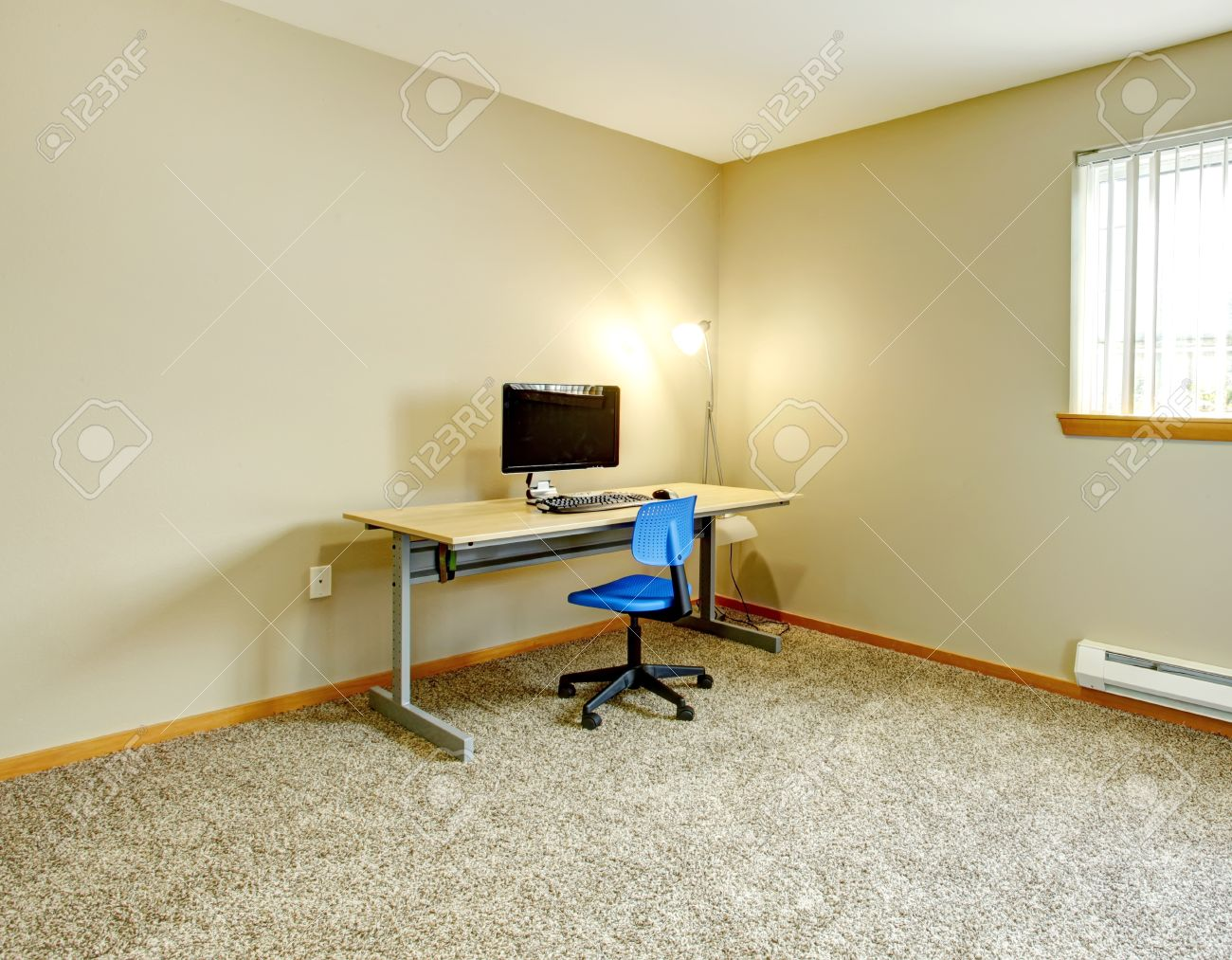 Big Ivory Office Room With Window And Beige Carpet Floor. Furnished ...