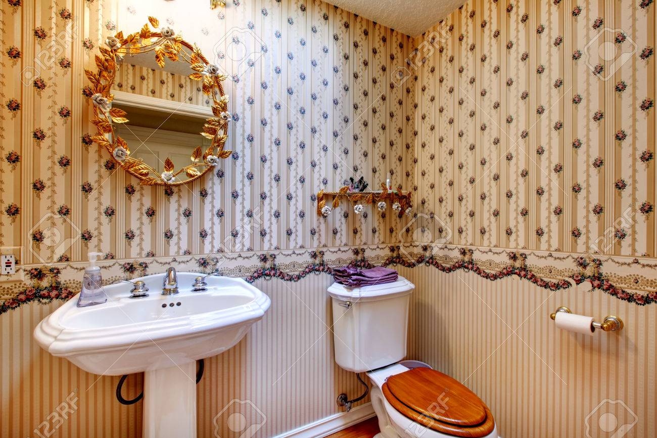 Old Fashioned Style Bathroom With Wallpaper Decorated Gold Mirror Stock Photo Picture And Royalty Free Image Image 26069102
