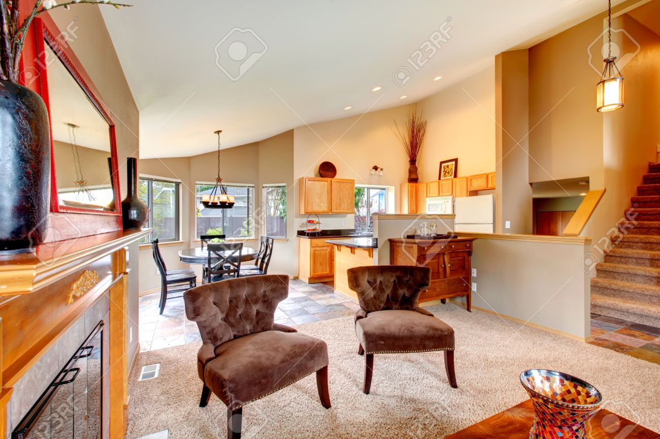 Vaulted Ceiling Big Living Room Extended To Cozy Dining Area Stock Photo Picture And Royalty Free Image Image 25974406