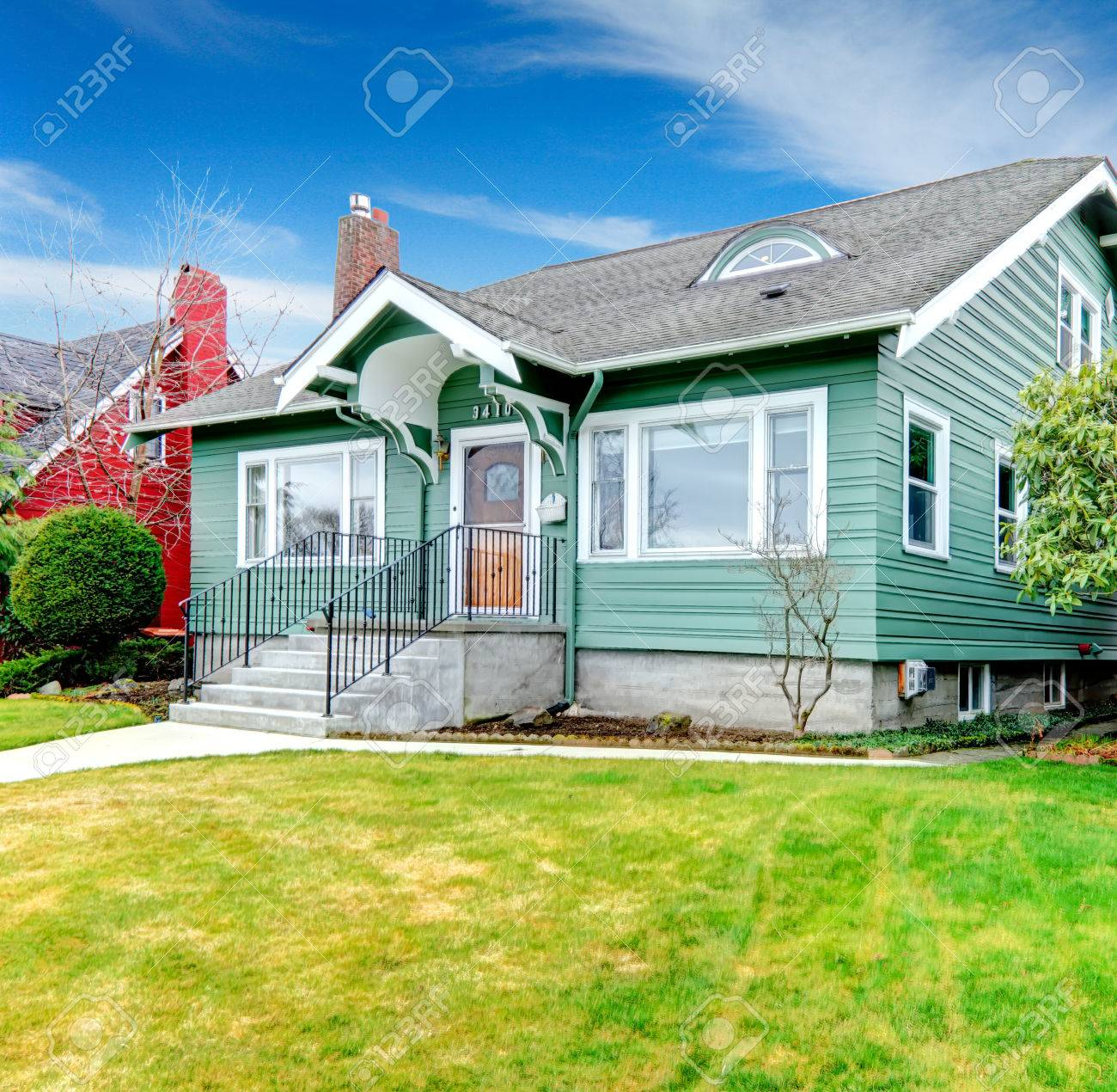 Green Small House With Tile Roof Porch With Stairs Stock Photo Picture And Royalty Free Image Image 28636220