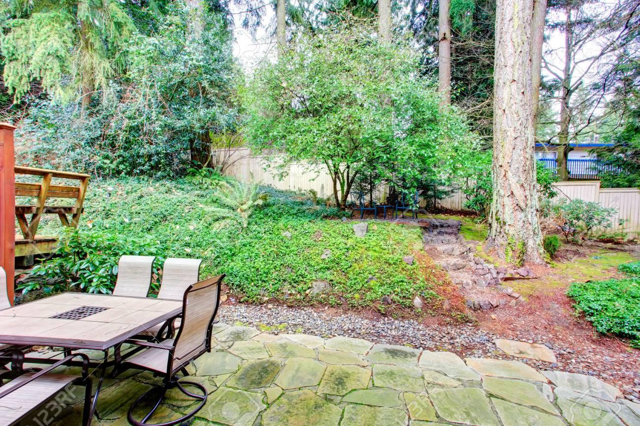 Concrete Tile Floor Backyard With Patio Table Set. Ope To Backyard Garden  Stock Photo