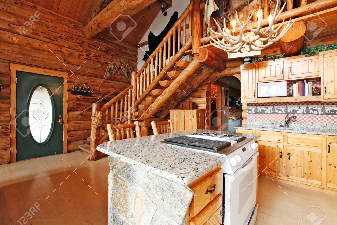 Log Cabin House Kitchen Room With Rocky Cabinet And White Stove View Of Entrance Hall