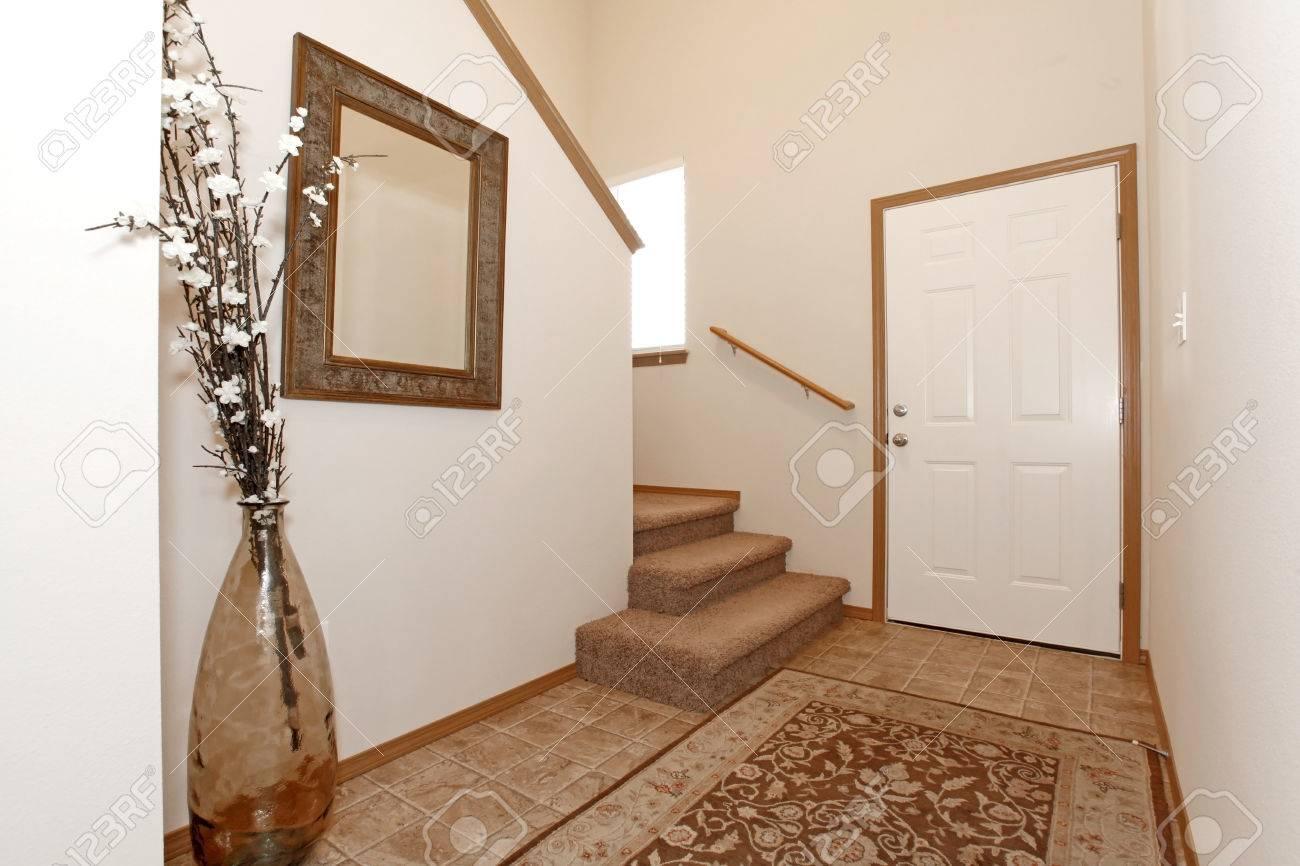 Lumiere Hall D Entree De Mur Avec Un Tapis Decore Avec Un Miroir