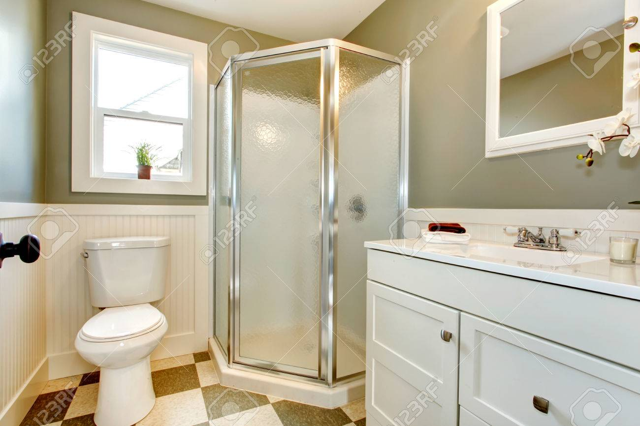 Bright Bathroom With Window. Olive Walls Blend Perfectly With ...