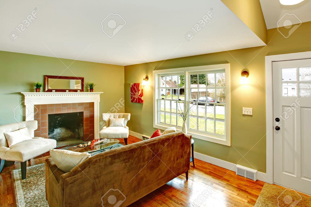 Verfrissende woonkamer met licht groene muren, hardhouten vloer en ...