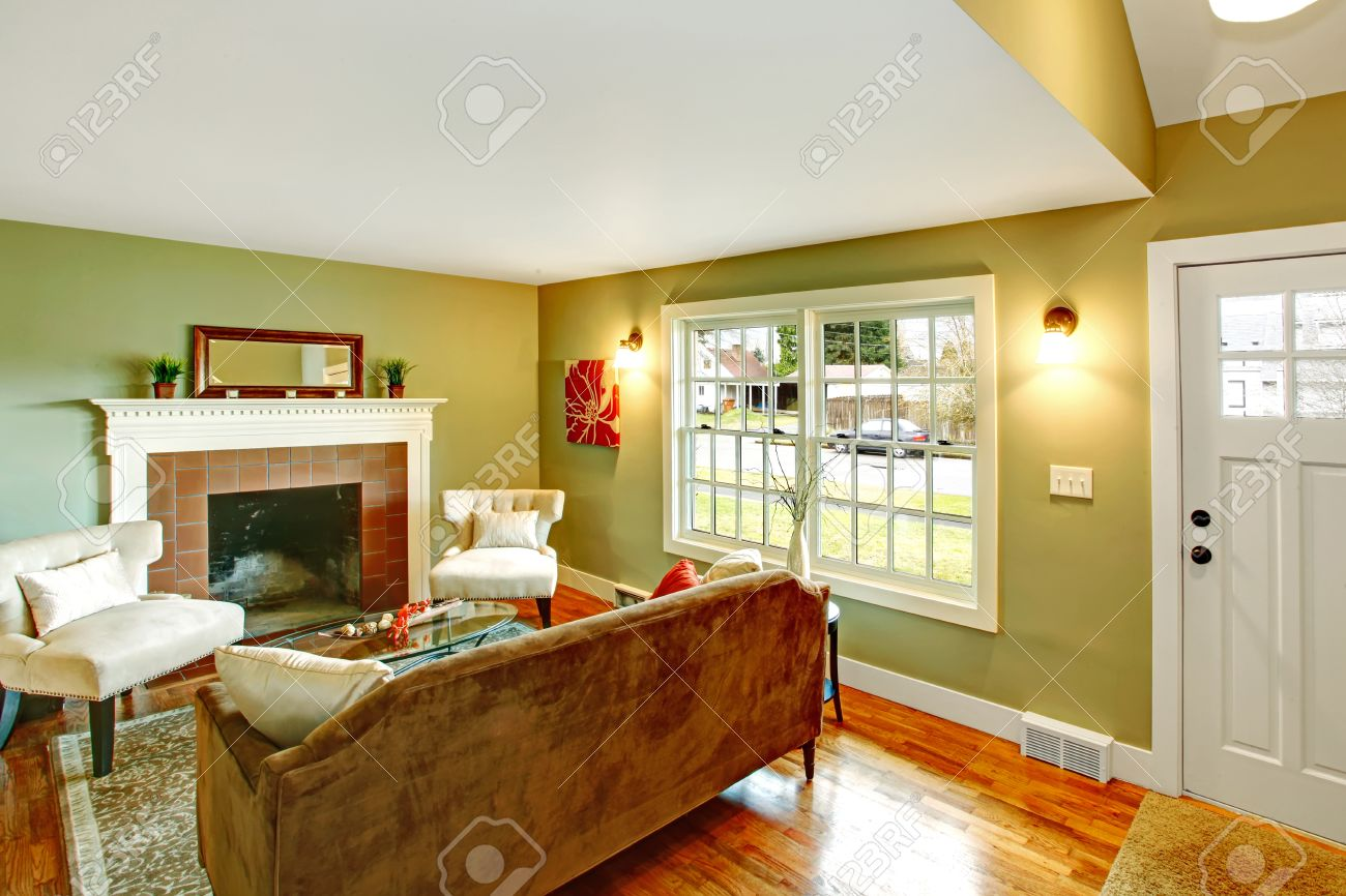 Refreshing Living Room With Light Green Walls, Hardwood Floor And White  Ceiling. Furnished With Part 95