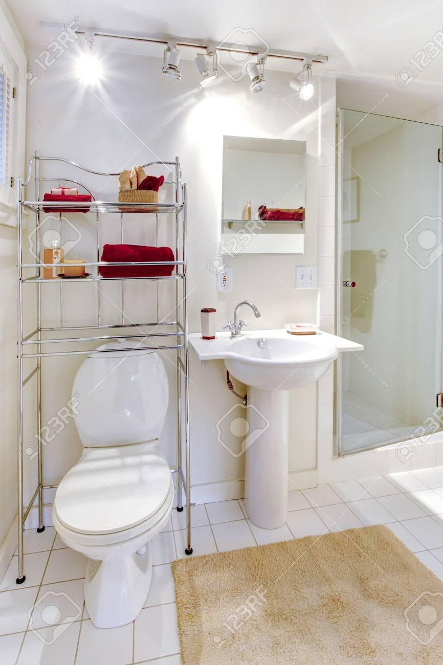 Cuarto de baño blanco brillante con el metal unidad de almacenamiento de  estantería móvil