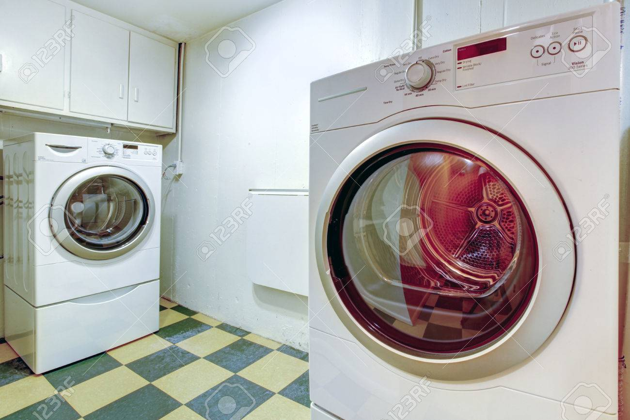 View of washer and dryer mashines. Practical laundry room Stock Photo - 26450977