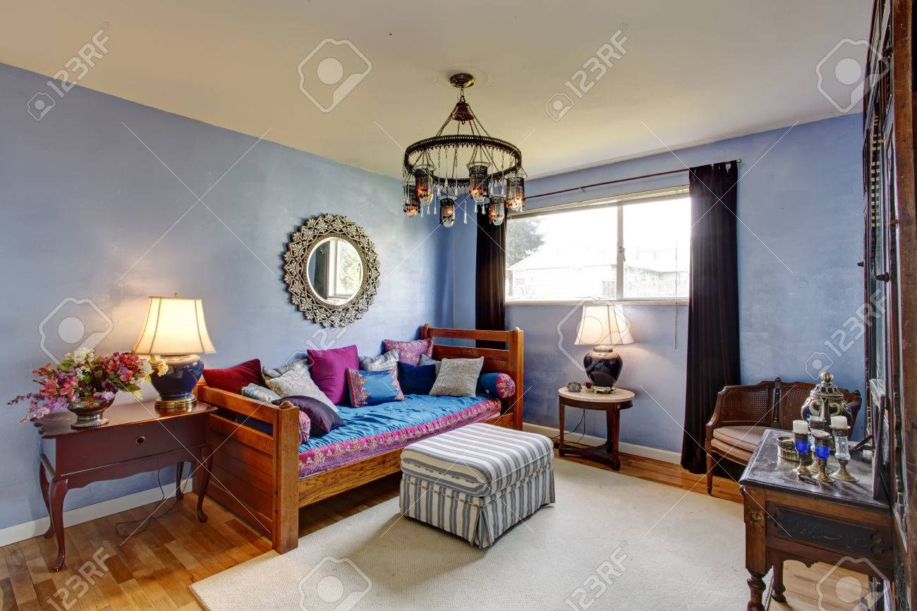 Blue Bedroom With Old Antique Chest Chair And Nightstand Single Stock Photo Picture And Royalty Free Image Image 26450501