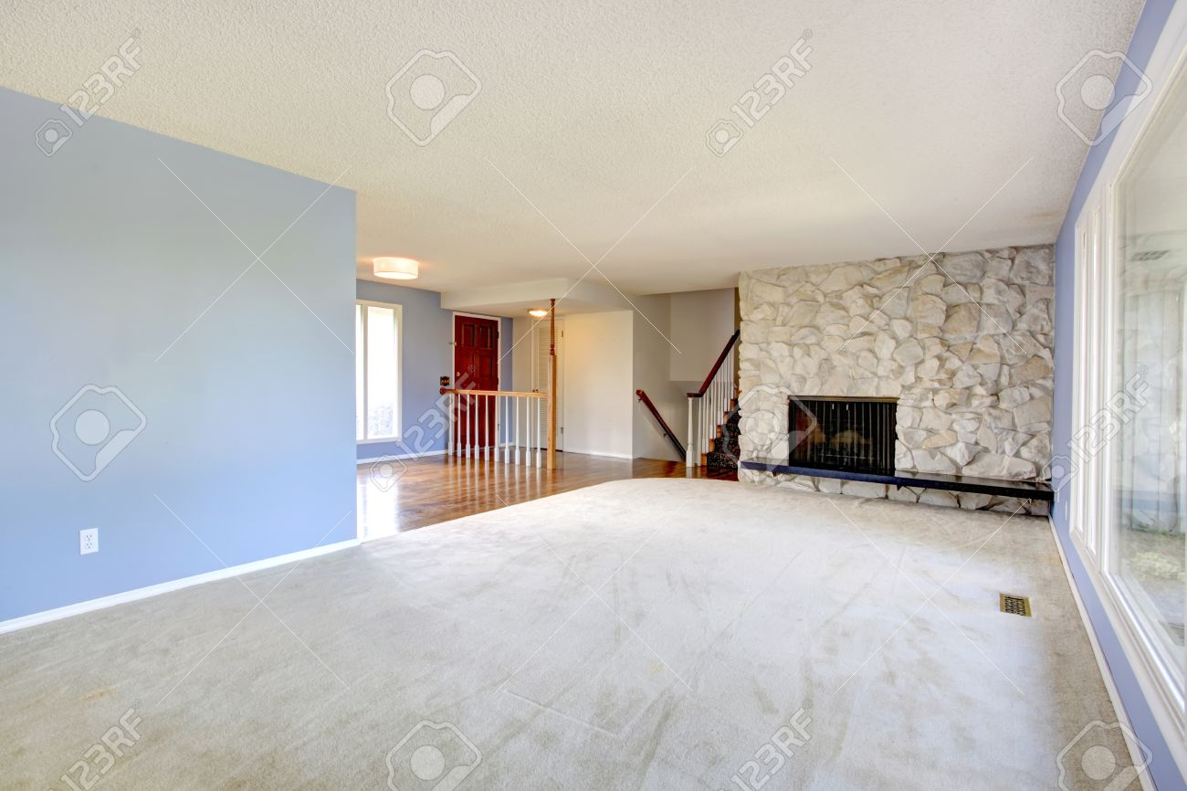 Image of: Refreshing Empty Living Room With Light Blue Walls Carpet Floor Stock Photo Picture And Royalty Free Image Image 26533613
