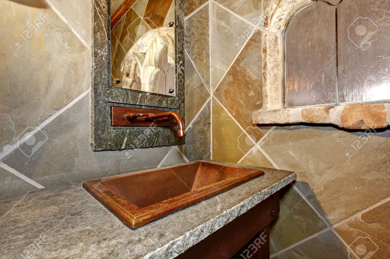 Concrete Castle Style Bathroom Cherry Open Washbasin Cabinet, Copper Sink  And Faucet Stock Photo