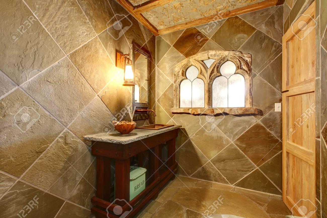concrete castle style bathroom with an arch window, cherry open
