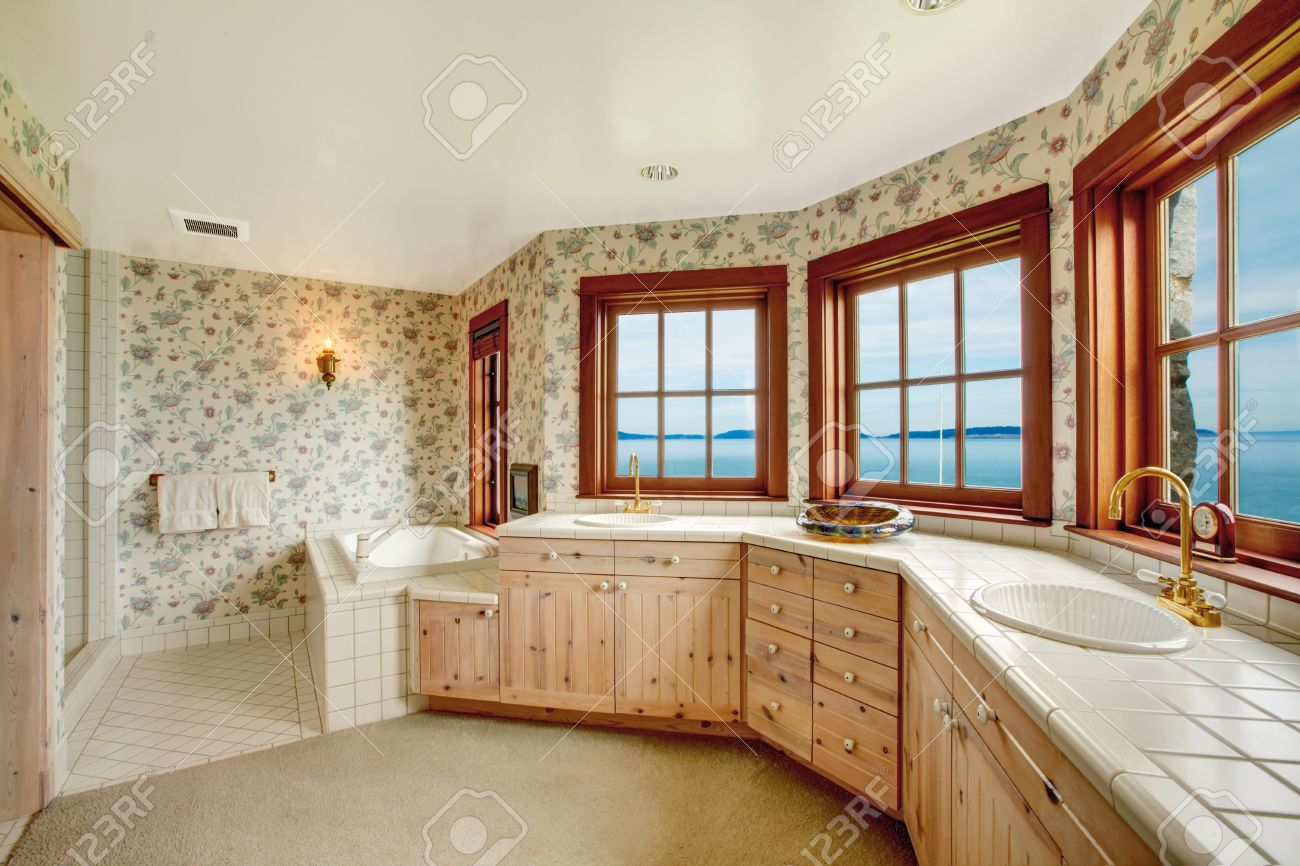Plank walls in bathroom - Floral Walls Bathroom With French Windows Tile And Carpet Floor View Of Wood Plank