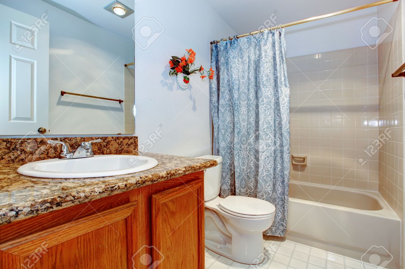 Light blue bathroom with wooden washbasin cabinet white toilet and tub decorated with fake