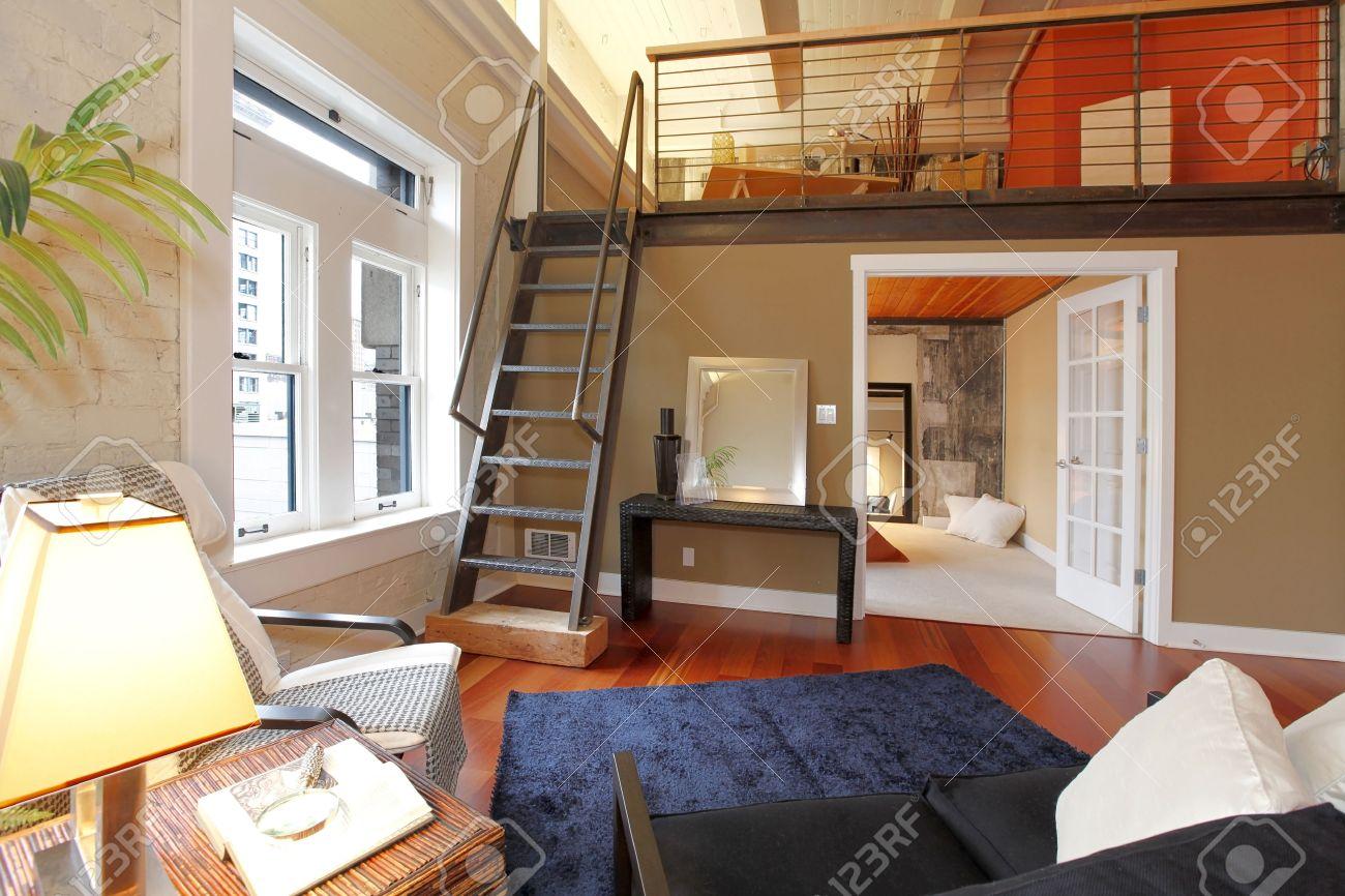 Mezzanine Bedroom View Of Modern Reconstructed Living Room With Mezzanine Area