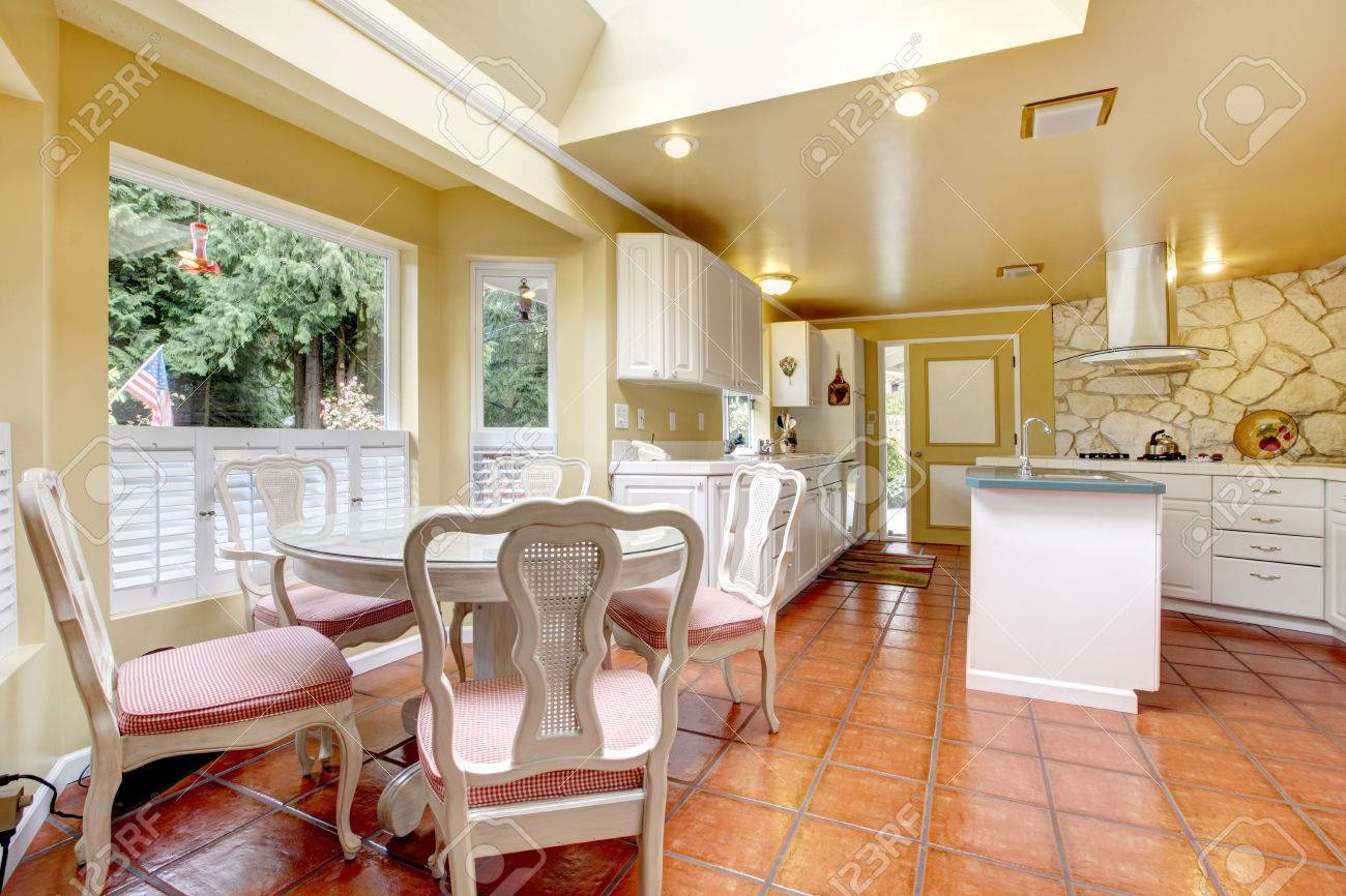 Ivory Kitchen Bright Ivory Kitchen Room With White Cabinets And Tile Floor