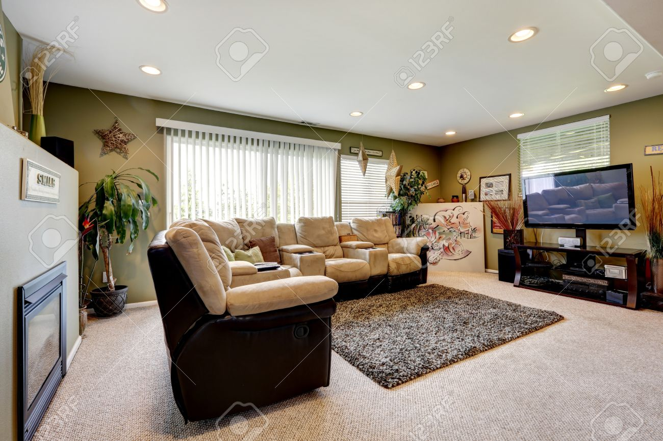 Olive Walls Living Room With Soft Rug, Comfortable Couch Set, TV And  Fireplace Stock Part 58